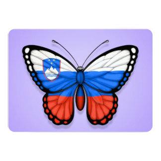 Slovenian Butterfly Flag on Purple Card