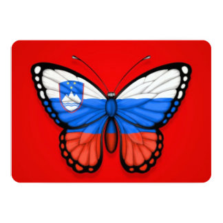 Slovenian Butterfly Flag on Red Card