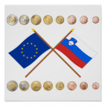 Slovenian Euros and EU & Slovenia Flags Poster