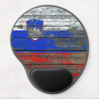 Slovenian Flag on Rough Wood Boards Effect Gel Mouse Pad