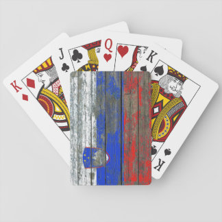 Slovenian Flag on Rough Wood Boards Effect Card Decks