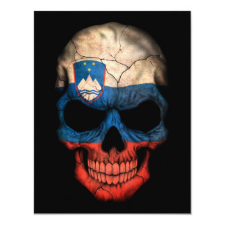 Slovenian Flag Skull on Black Card