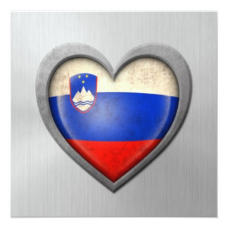 Slovenian Heart Flag Stainless Steel Effect Card
