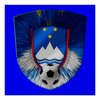 Slovenija Futbal Nogomet dark emblem Posters
