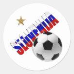Slovenija soccer star soccer ball Slovenia logo Round Stickers