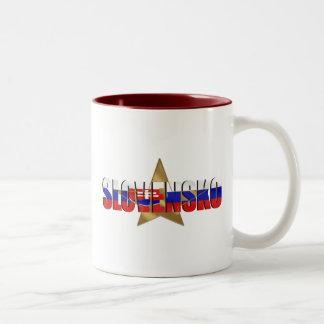 Slovensko Super stars flag of Slovaki gifts Two-Tone Coffee Mug