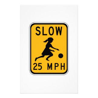 Slow 25 MPH, Traffic Warning Signs, USA Stationery Paper