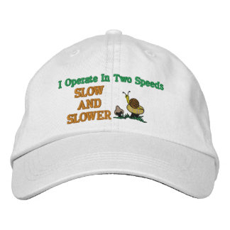 Slow And Slower Snail Embroidered Hat