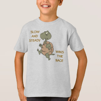 slow and steady wins race funny running turtle T-Shirt