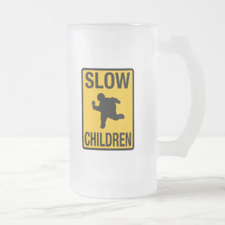 Slow Children fat kid street sign parody funny 16 Oz Frosted Glass Beer Mug