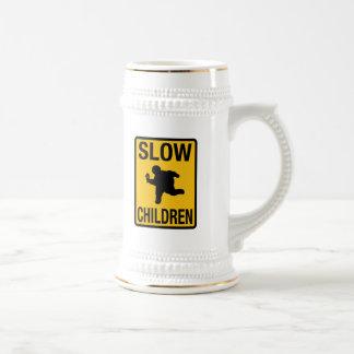 Slow Children fat kid street sign parody funny 18 Oz Beer Stein
