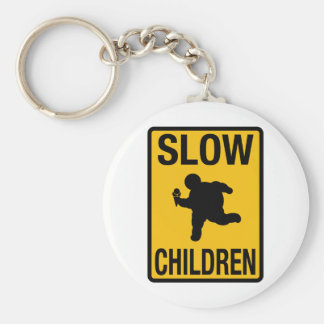 Slow Children fat kid street sign parody funny Basic Round Button Keychain