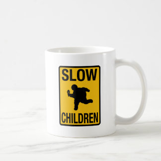 Slow Children fat kid street sign parody funny Classic White Coffee Mug