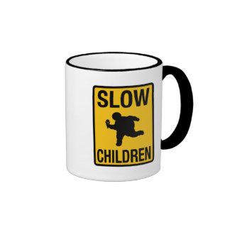 Slow Children fat kid street sign parody funny Ringer Coffee Mug
