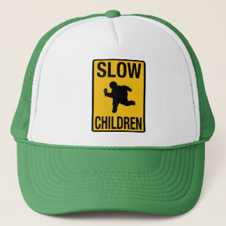 Slow Children fat kid street sign parody funny Trucker Hat