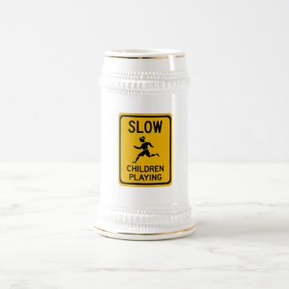Slow - Children Playing, Traffic Warning Sign, USA 18 Oz Beer Stein