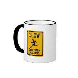 Slow - Children Playing, Traffic Warning Sign, USA Ringer Coffee Mug