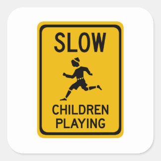 Slow - Children Playing, Traffic Warning Sign, USA Square Sticker