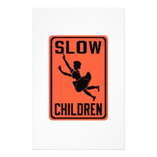 Slow Children, Traffic Warning Sign, USA Custom Stationery