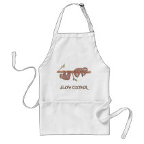 """Slow Cooker"" Cute Lazy Sloths Art Adult Apron"