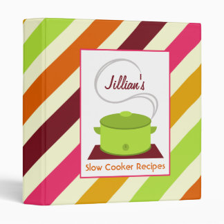 Slow Cooker Recipe Binder - Green With Stripes