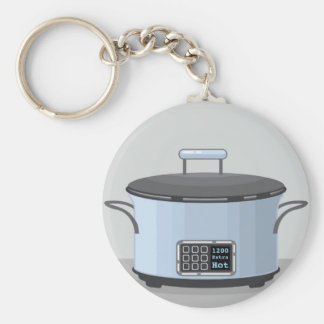 Slow cooking crock pot vector basic round button keychain