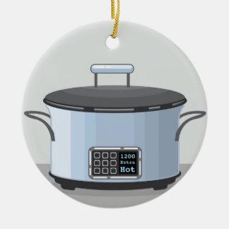 Slow cooking crock pot vector ceramic ornament