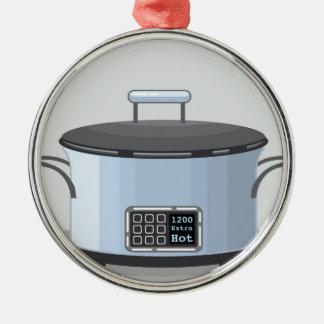 Slow cooking crock pot vector metal ornament