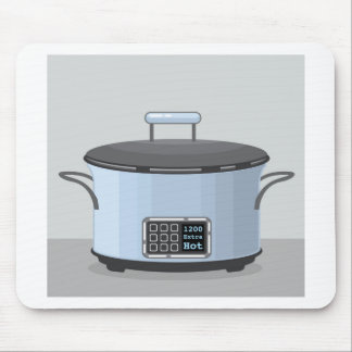 Slow cooking crock pot vector mouse pad