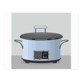 Slow cooking crock pot vector postcard