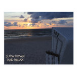 Slow down and relax - beach beach sunset post card