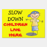 Slow Down Children Live Here Caution Kids Playing Lawn Signs