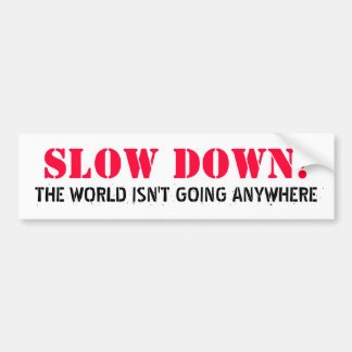 SLOW DOWN!, THE WORLD ISN'T GOING ANYWHERE BUMPER STICKER