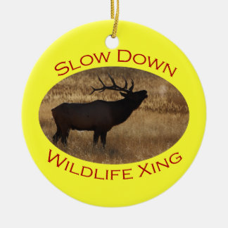 Slow Down Wildlife Crossing Ceramic Ornament