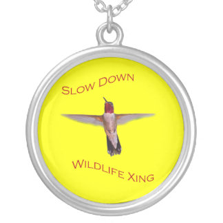 Slow Down, Wildlife Crossing Silver Plated Necklace