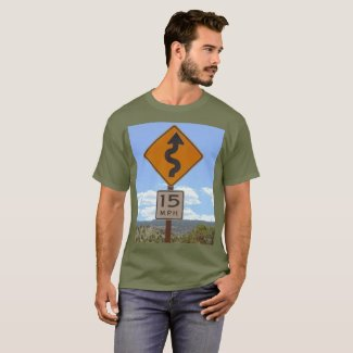 Slow Down Windy Road Sign Khaki Color T-Shirt, Men T-Shirt