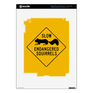 Slow Endangered Squirrels, Warning Sign, Maryland Decal For iPad 3