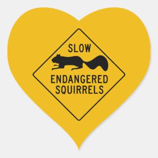 Slow Endangered Squirrels, Warning Sign, Maryland Heart Sticker