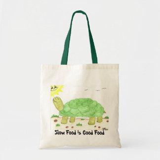 Slow Food is Good Food turtle tote bag