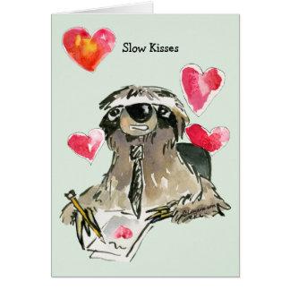 Slow Kisses Love Cartoon Sloth Card