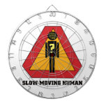 Slow Moving Humans Sign design Dartboard With Darts