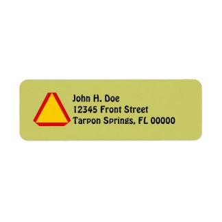 Slow Moving Sign Snail Mail Return Address Label