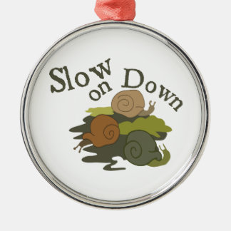 Slow On Down Round Metal Christmas Ornament