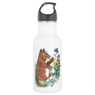 Slow Paws and Butterfly is Too Fast 18oz Water Bottle