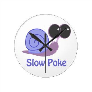 Slow Poke Periwinkle Snail Round Clock