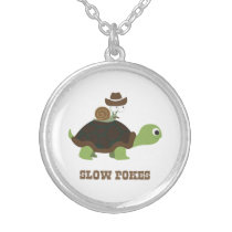 Slow Pokes - cowboy snail and turtle Silver Plated Necklace
