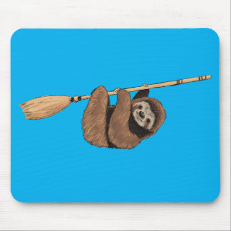 Slow Ride - Sloth on Flying Broom Mouse Pad