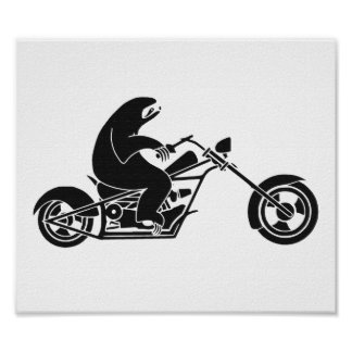 Slow Sloth On A Fast Bike Poster