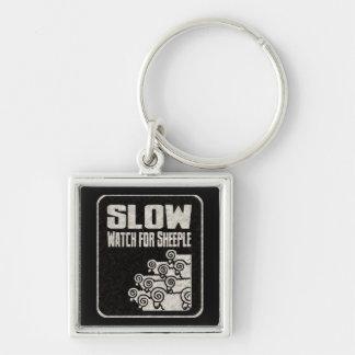 Slow - Watch for Sheeple Keychain