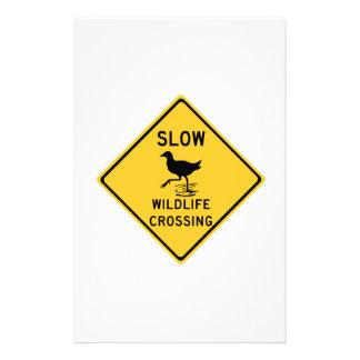 Slow Wildlife Crossing, Traffic Warning Sign, AU Custom Stationery